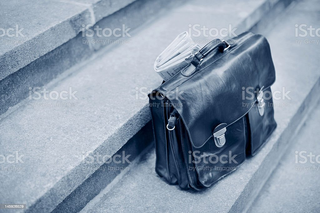 Business Briefcase with Newspaper royalty-free stock photo