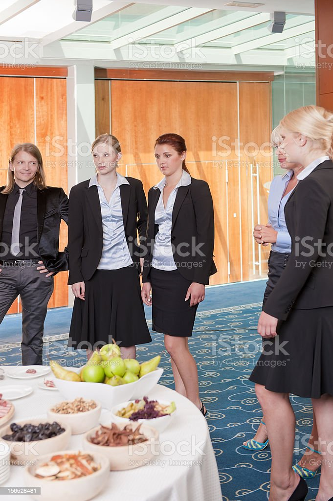 Business buffet lunch for young professionals in modern office building royalty-free stock photo