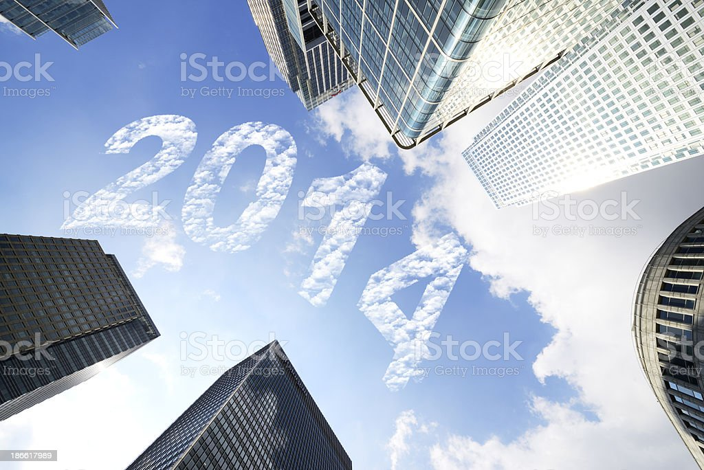 Business Buildings New Year 2014 royalty-free stock photo