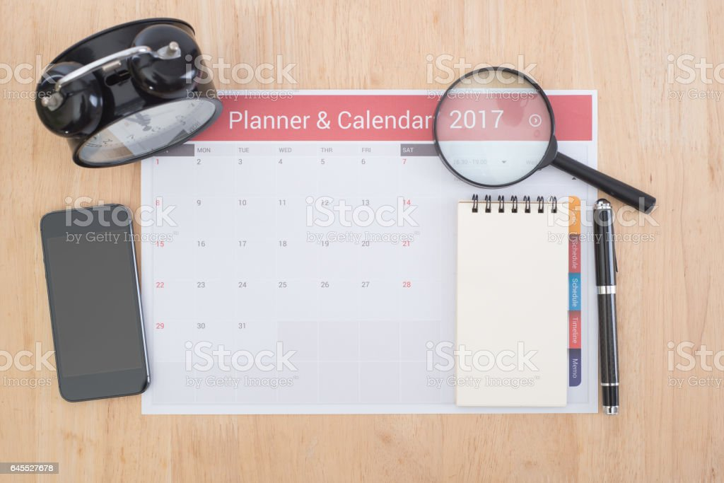 business Calender Planner meeting on desk office. stock photo