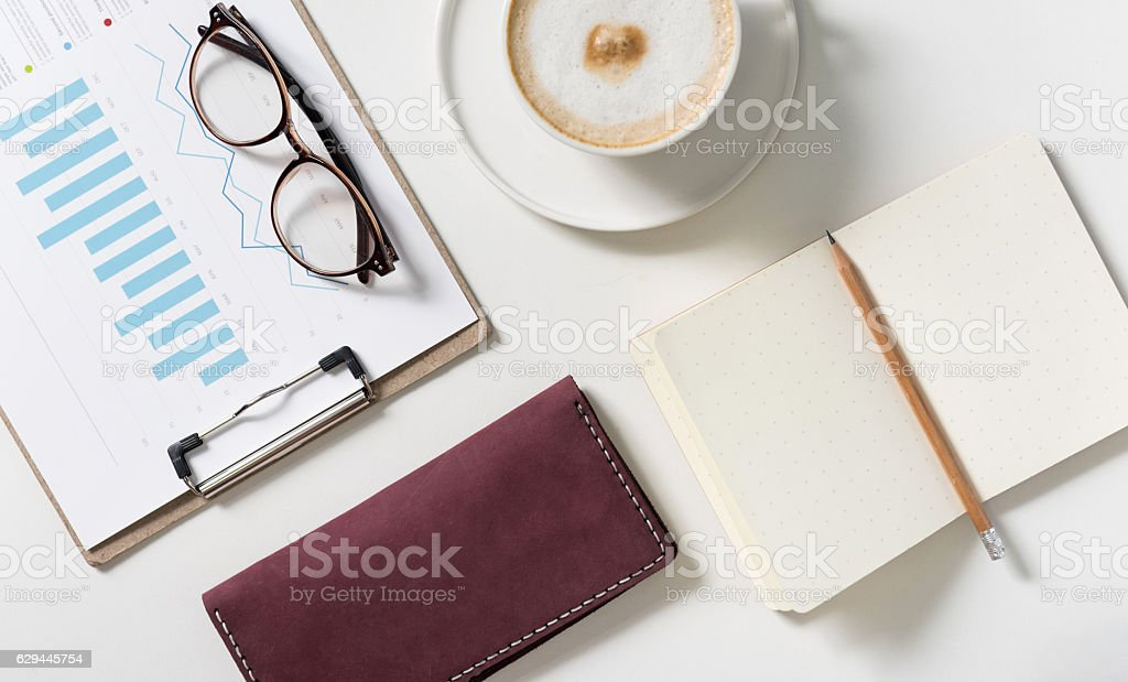 Business card holder lying on the desk stock photo