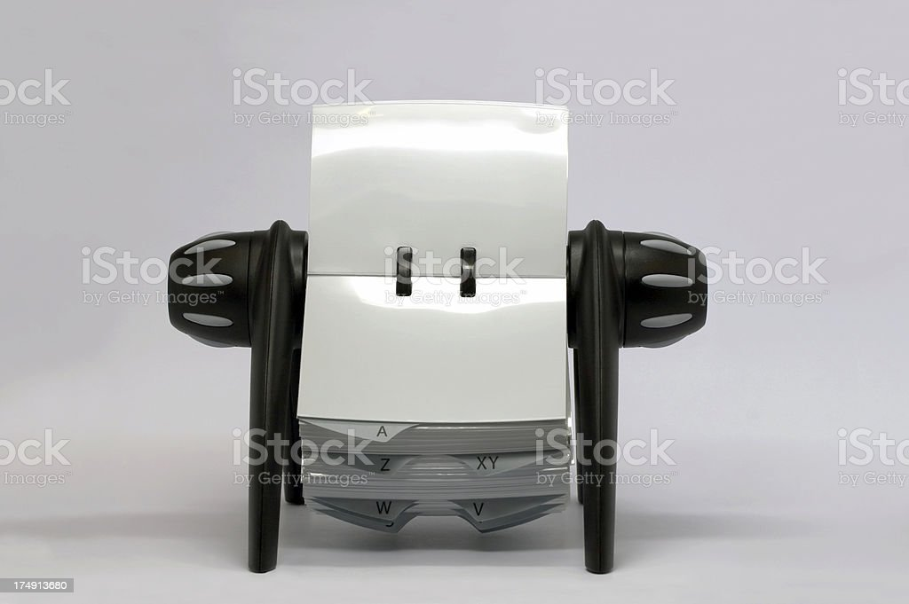 Business card holder rolodex isolated stock photo