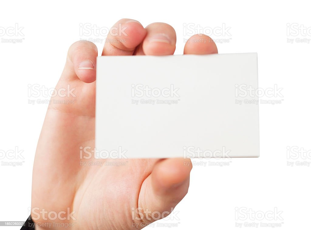 business card in causacian hand stock photo