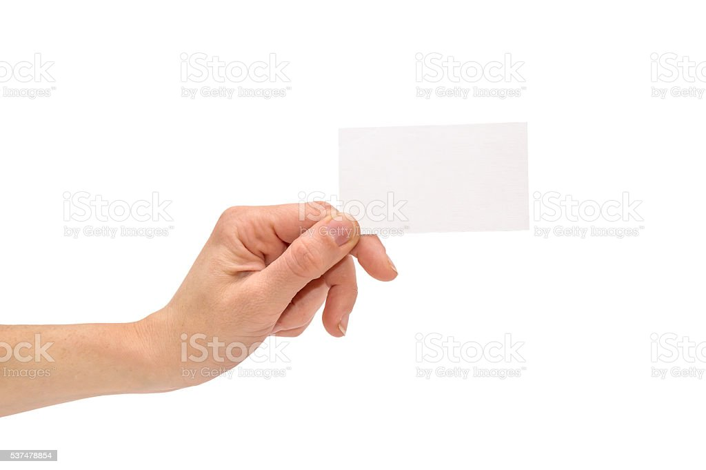 Business card in woman hand isolated on white stock photo