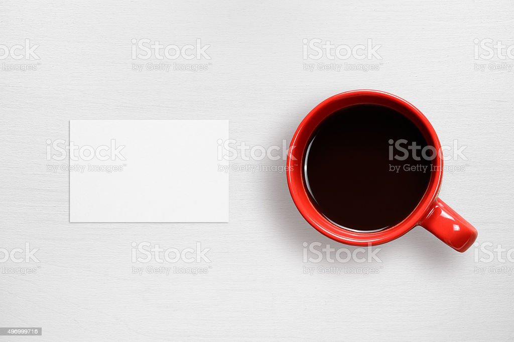 Business card mock-up and coffee cup stock photo