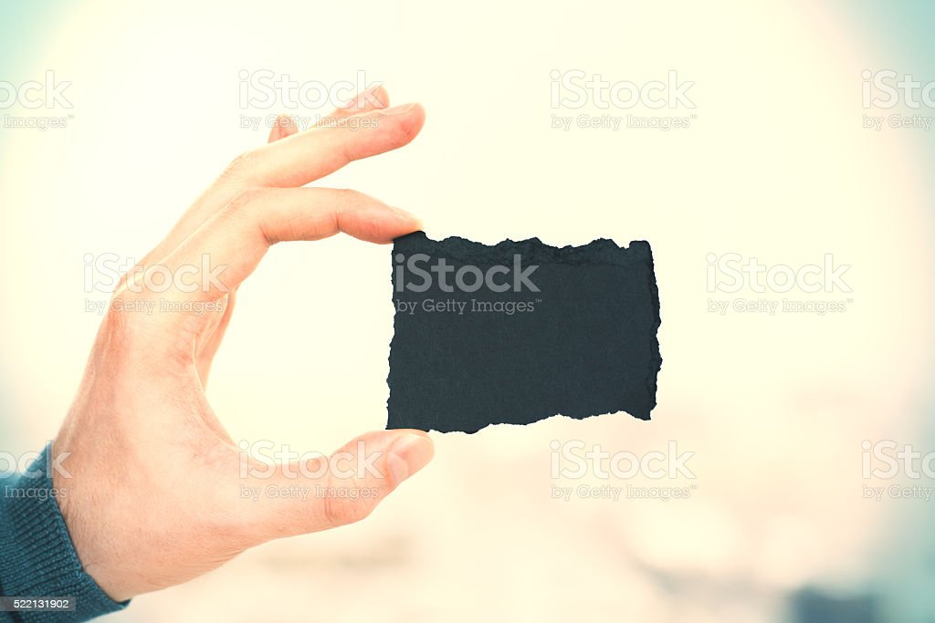Business card on yellow side stock photo