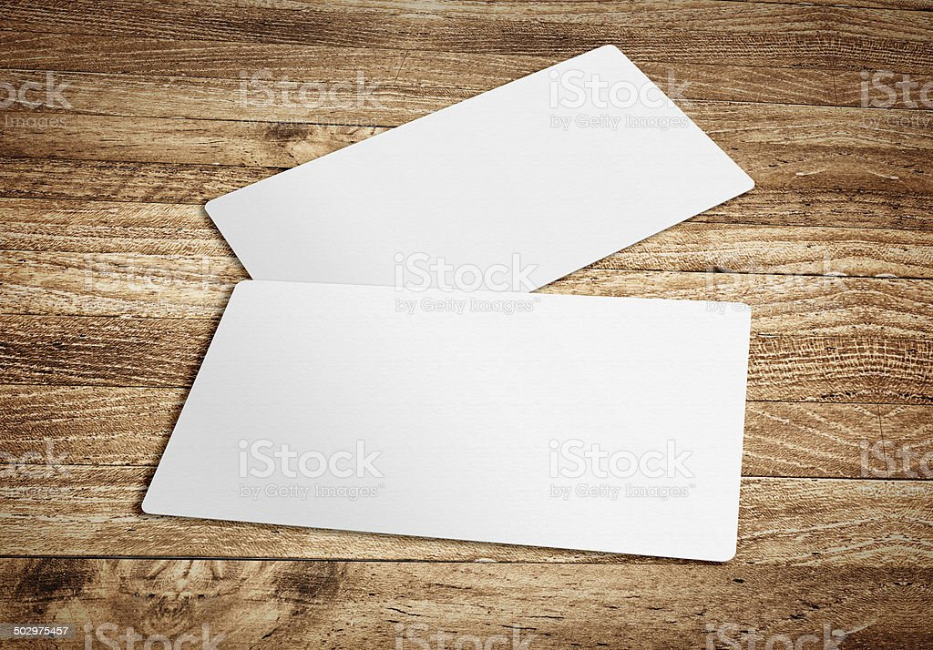 Business card template on wooden board table,template for brandi stock photo