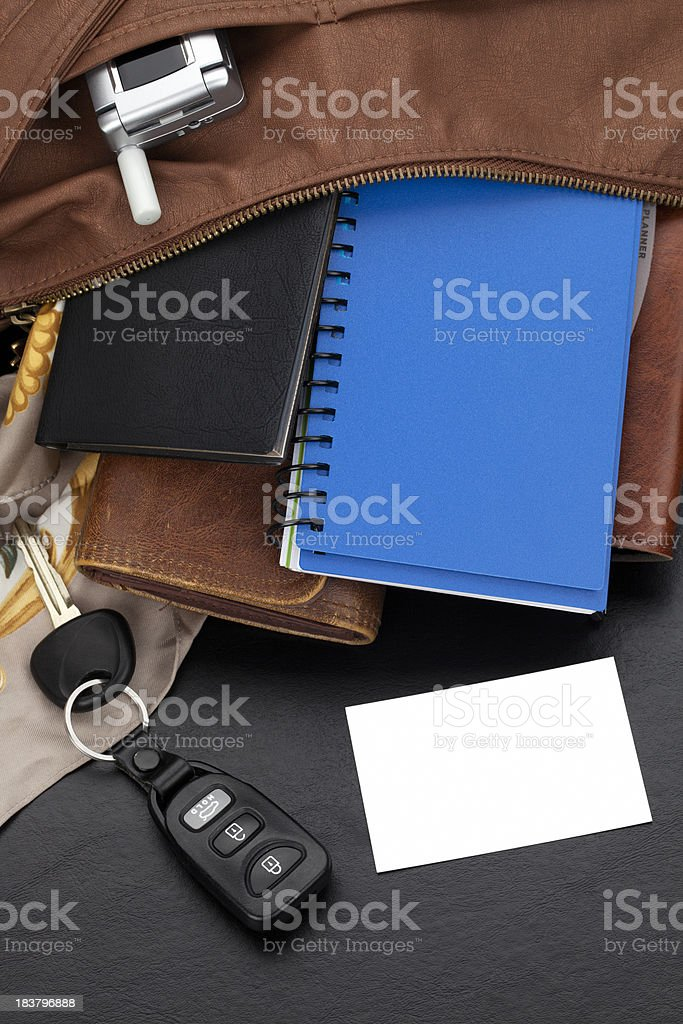 Business Card with Open Purse stock photo