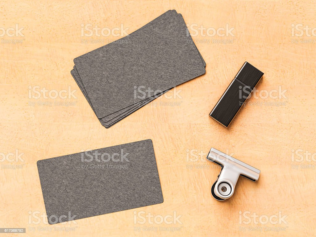 Business cards on wood background. 3D illustration stock photo