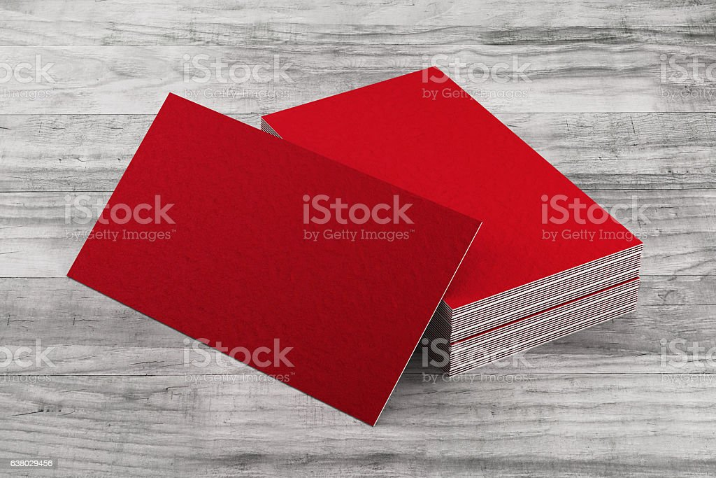 Business cards stack on wood background stock photo