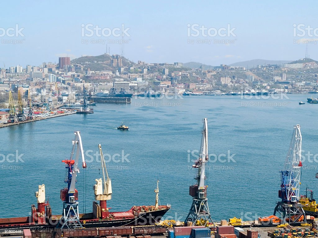 business cargo russian port Vladivostok royalty-free stock photo