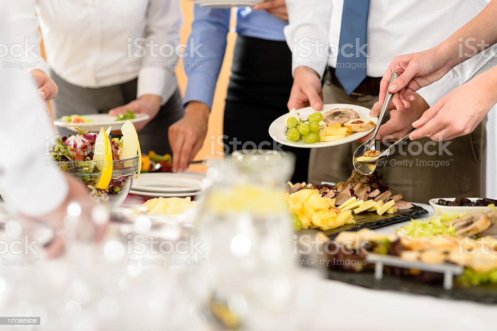 Business catering food for company celebration stock photo