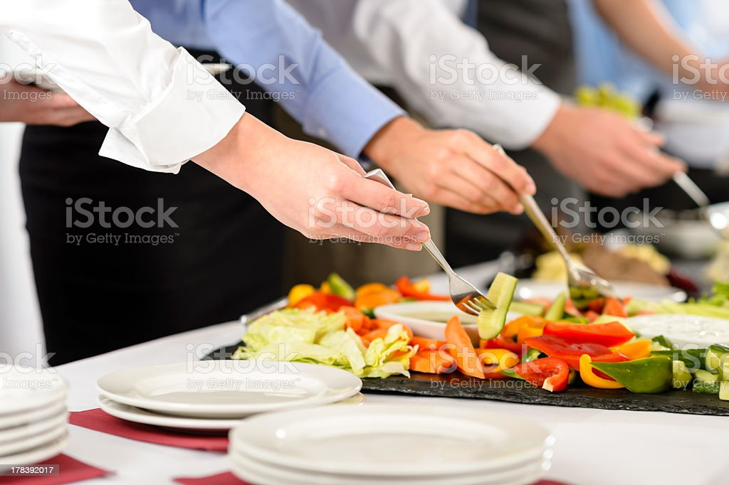 Business catering people take buffet food stock photo