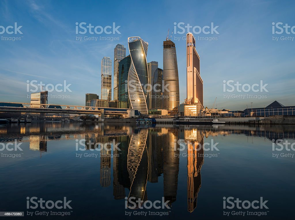 Business Center Moscow City at sunrise. stock photo