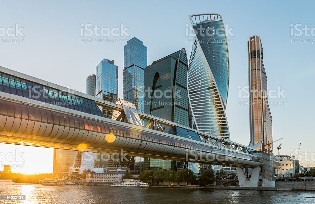 Business center Moscow-city at sunset. stock photo