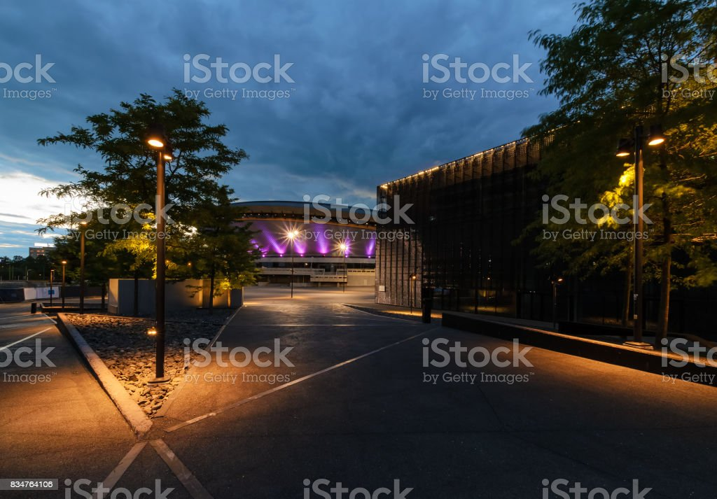 Business center of Katowice in the evening. stock photo