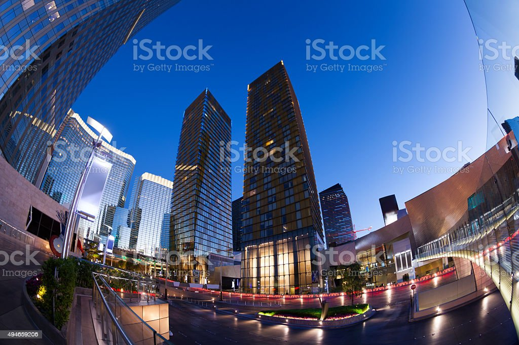 Business centre during night time in Las Vegas stock photo
