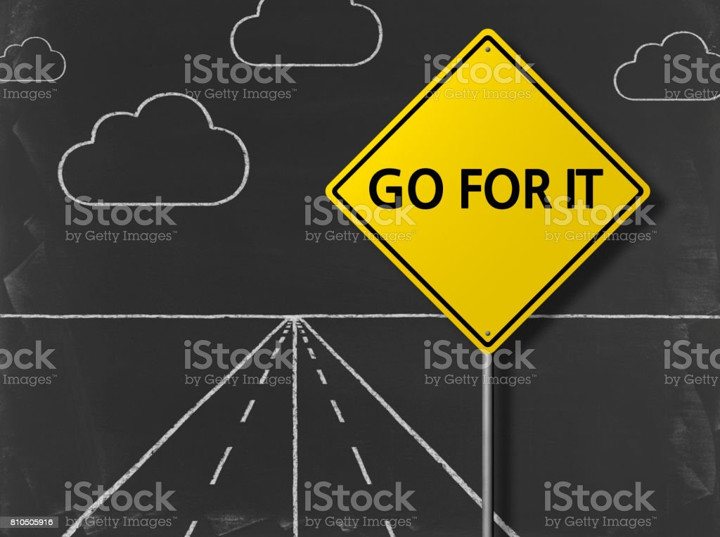 GO FOR IT - Business Chalkboard Background stock photo
