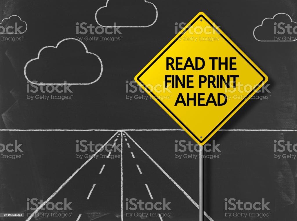 READ THE FINE PRINT AHEAD - Business Chalkboard Background stock photo