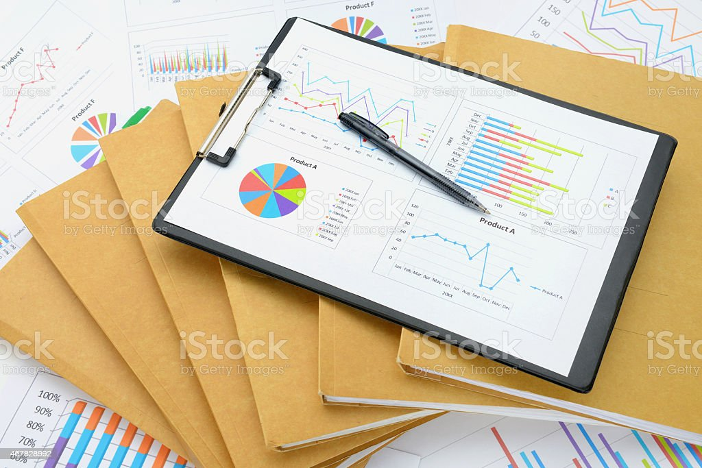 Business chart and files stock photo