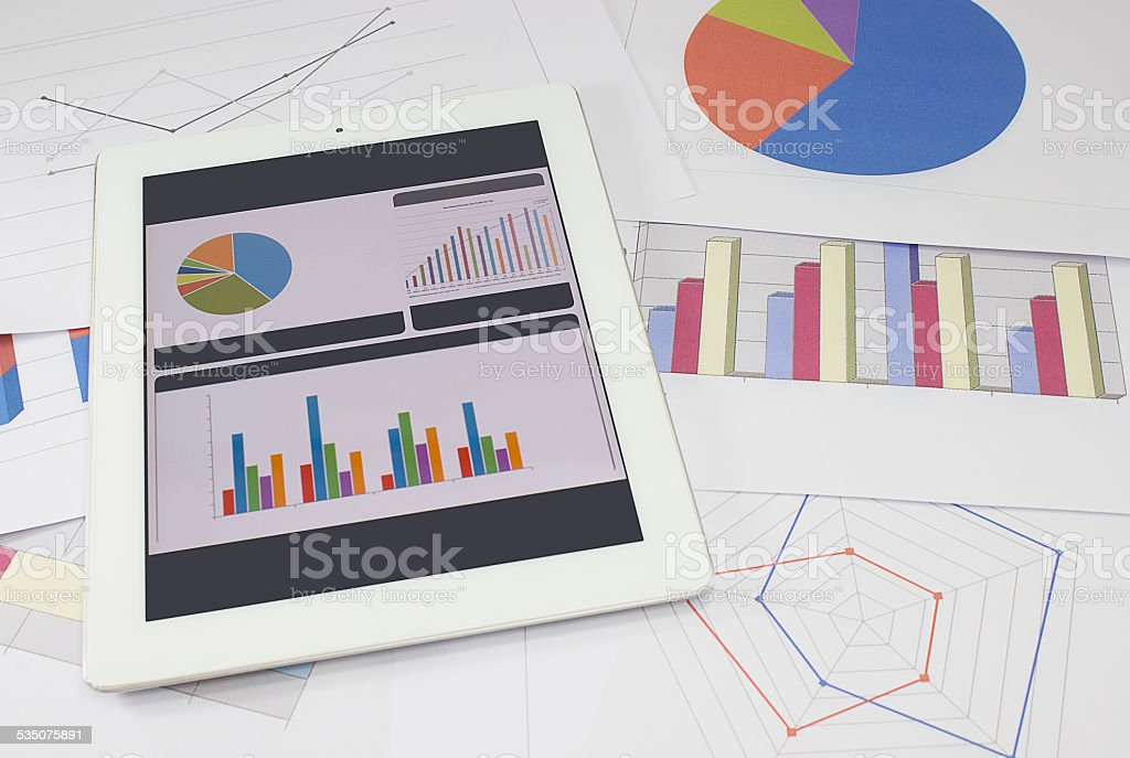 Business chart and graphs stock photo