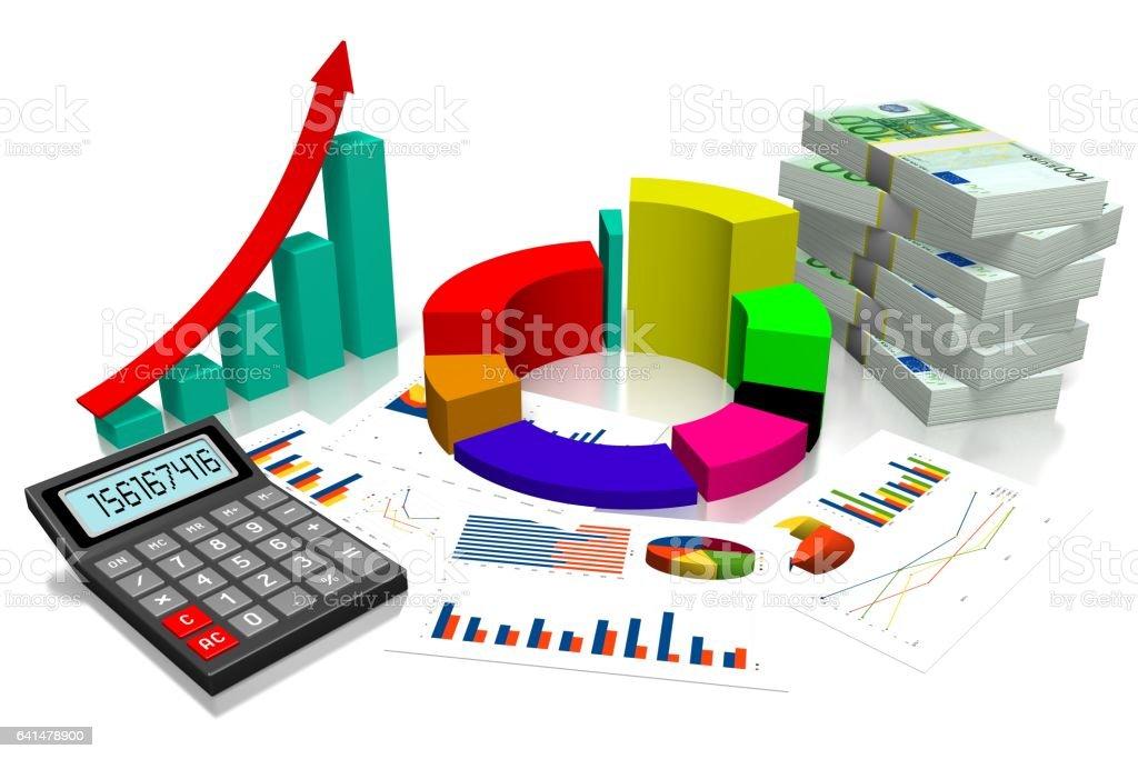 3D business chart, Euro money stock photo