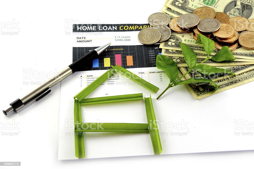 business chart Home loan Comparison on the sheet stock photo