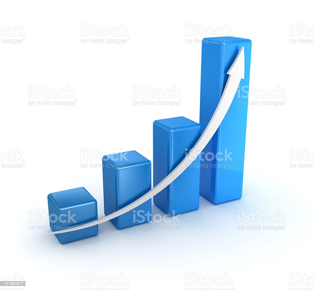 Business chart illustration with white arrow and blue boxes stock photo