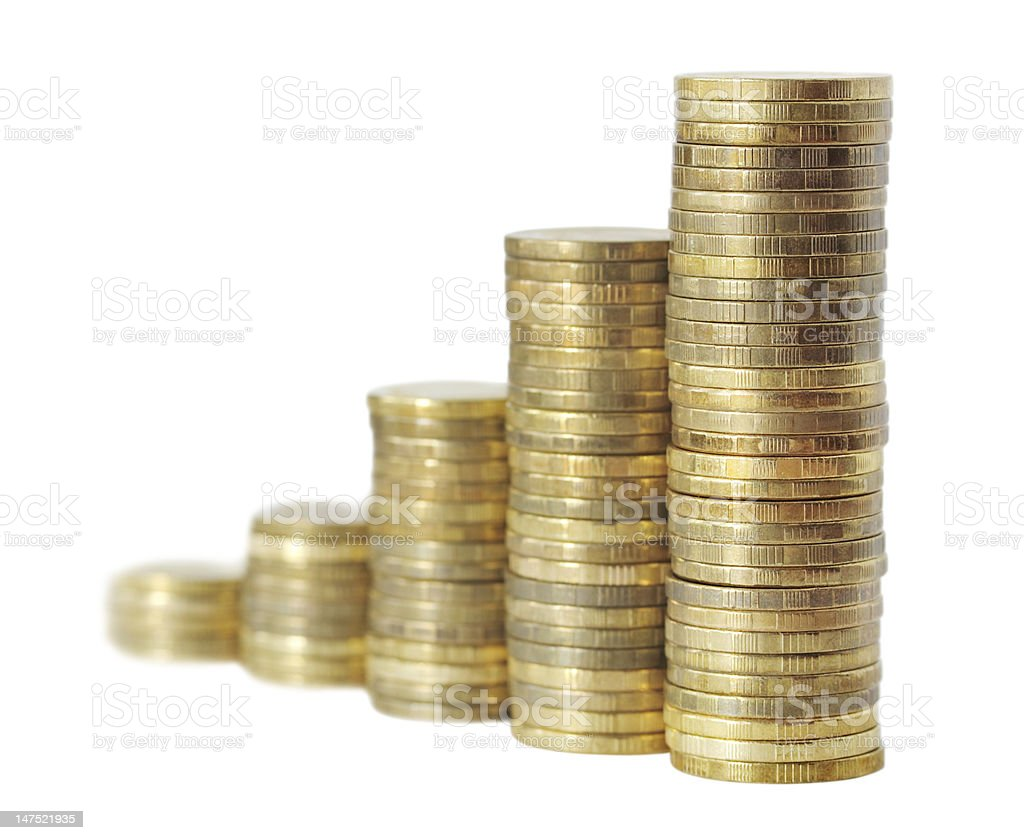 business chart is made from golden coins royalty-free stock photo