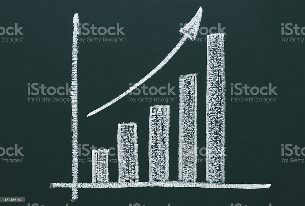 business chart on a blackboard royalty-free stock photo
