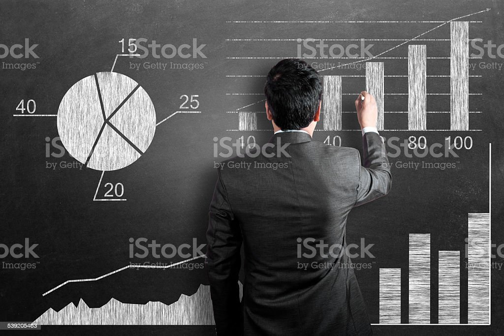 Business chart on chalkboard stock photo