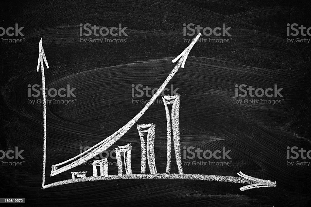 Business chart showing growth drawn in chalk in a blackboard stock photo