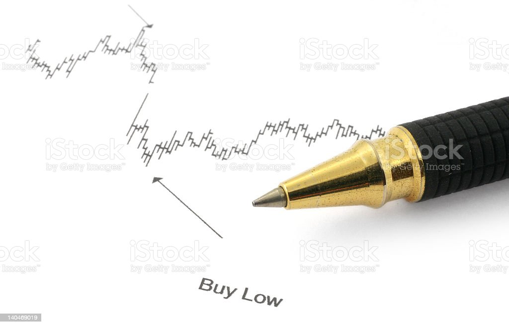 business chart with BUY LOW royalty-free stock photo