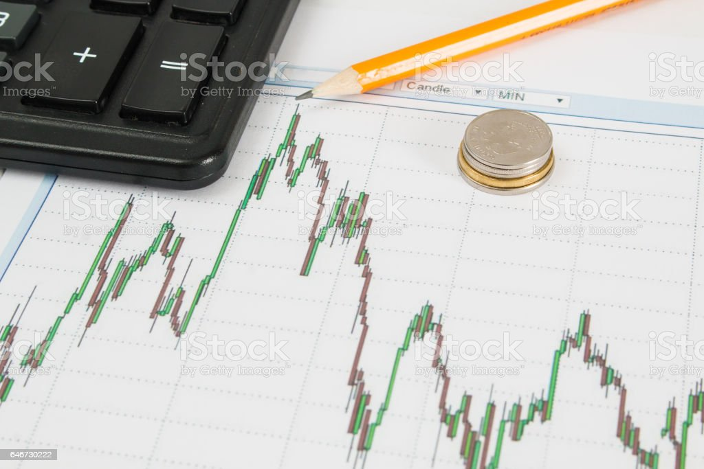 Business chart with calculator, coins and pencil indicates the maximum stock photo