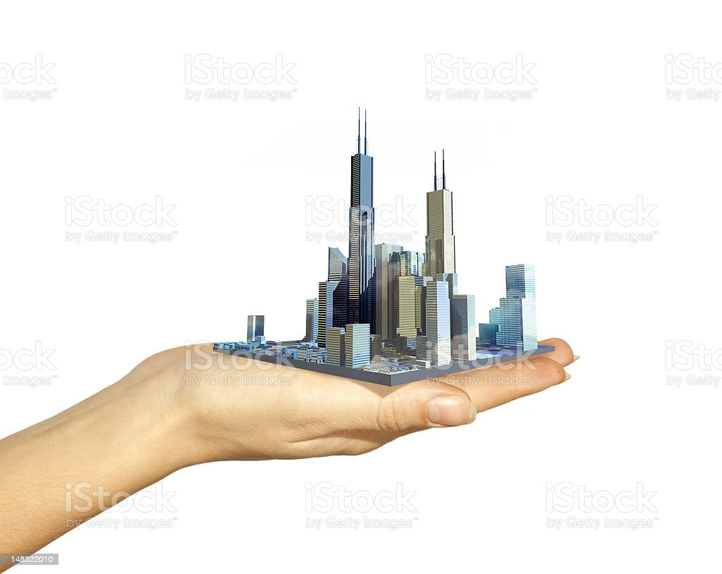 Business city center on woman's hand royalty-free stock photo