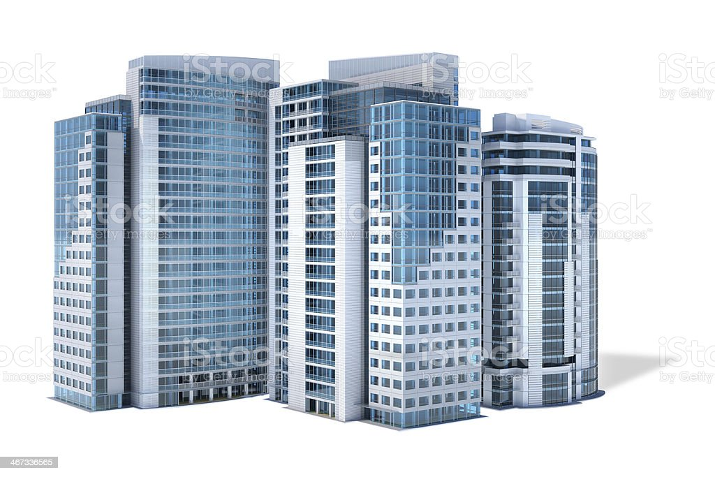 Business city center with office buildings isolated on white background royalty-free stock photo