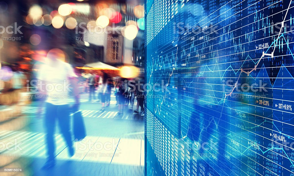 Business city: street life and stock market data and charts stock photo