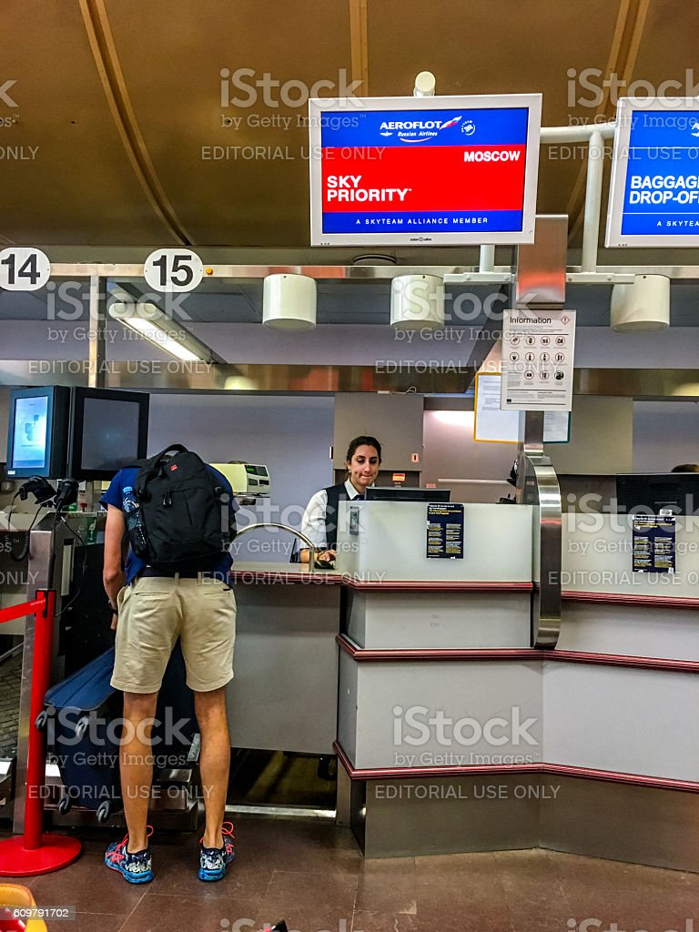 Business class check-in counter at Arlanda Airport, Stockholm stock photo