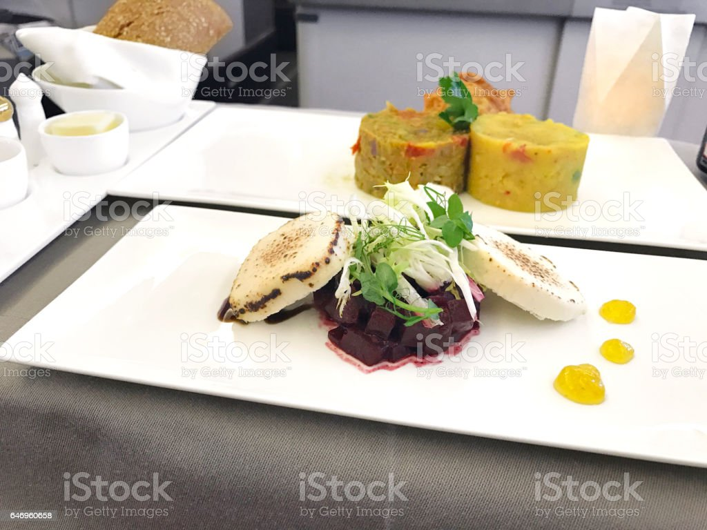 business class food stock photo