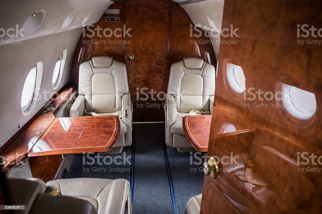 business class on the plane stock photo