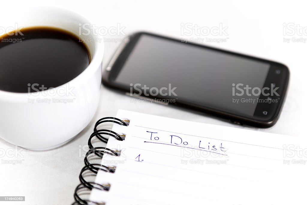 Business Coffee Break with To Do List royalty-free stock photo