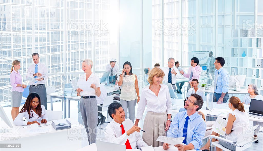Business colleagues busy at work stock photo