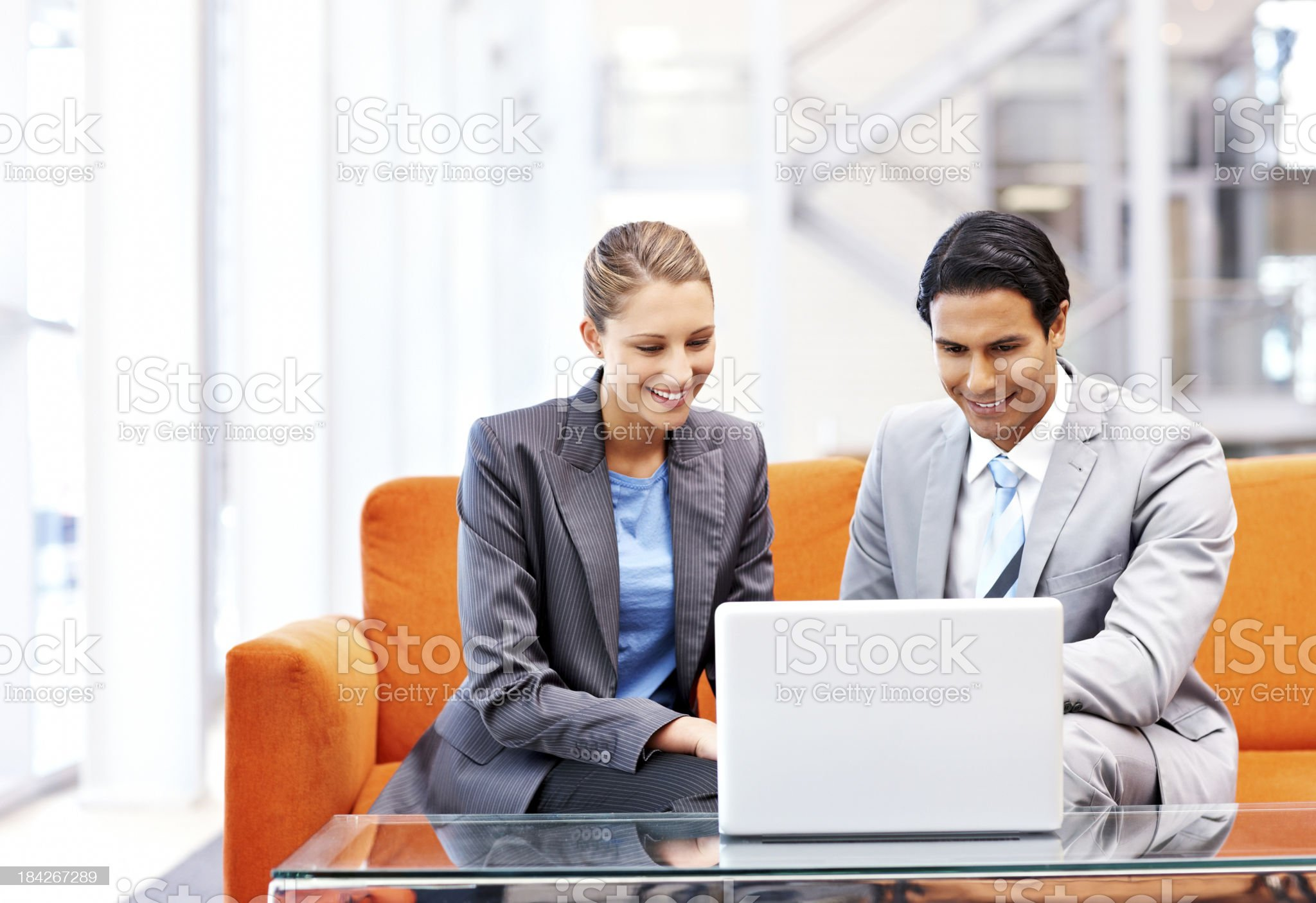 Business Colleagues Collaborating on a Laptop royalty-free stock photo