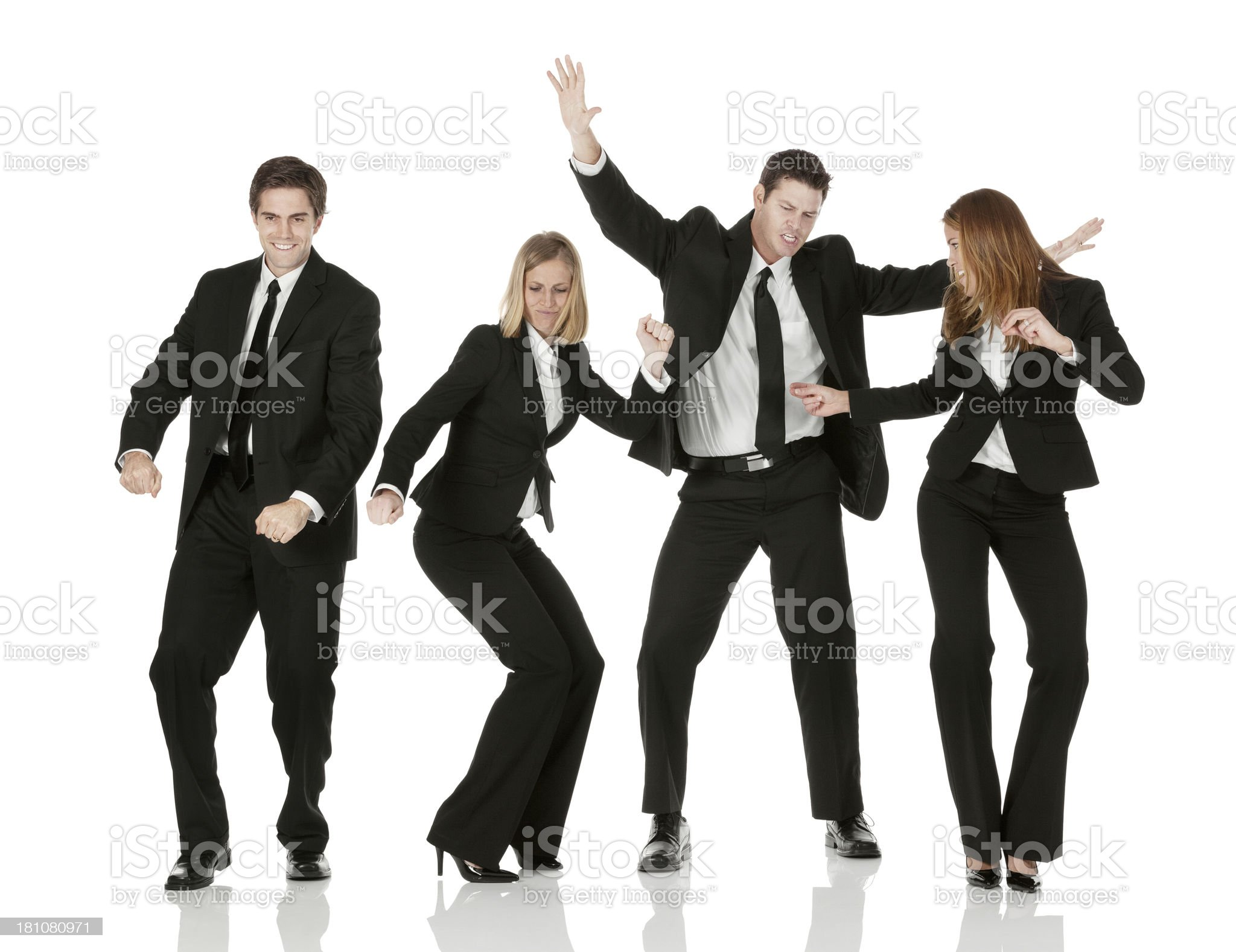 Business colleagues dancing against white background royalty-free stock photo