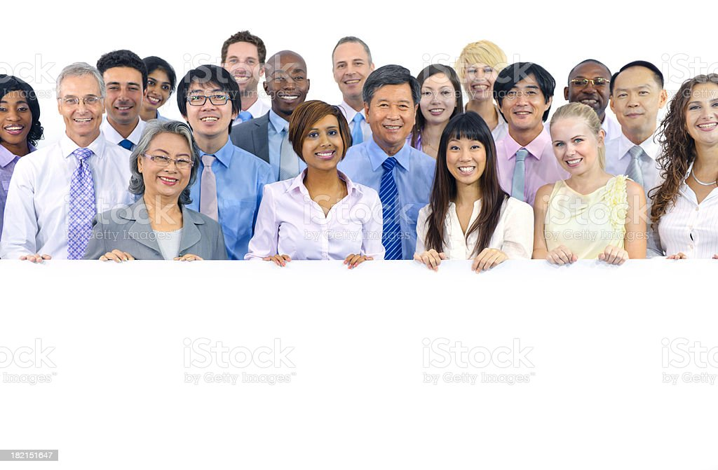 Business colleagues holding blank board royalty-free stock photo