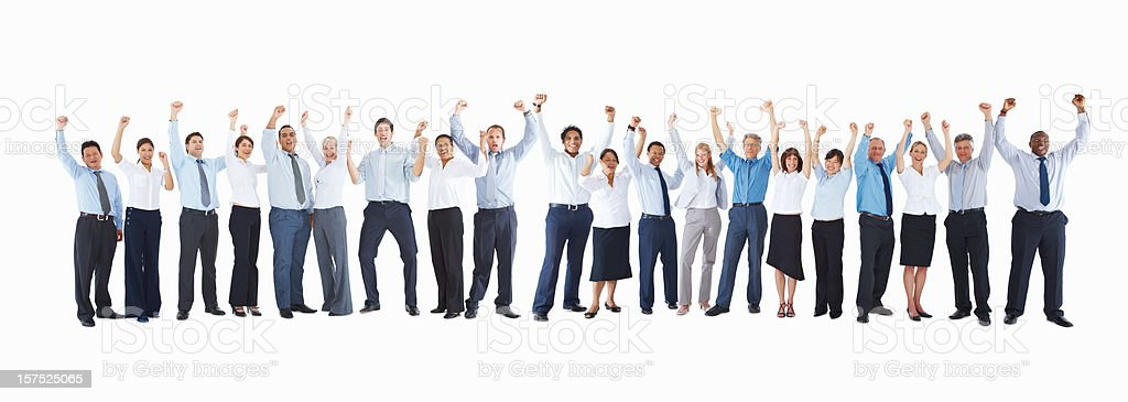 Business colleagues in line with hands raised on white royalty-free stock photo