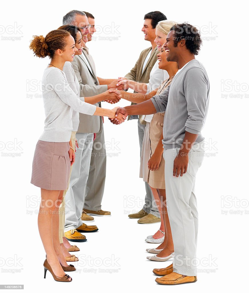 Business colleagues shaking hands in a row royalty-free stock photo