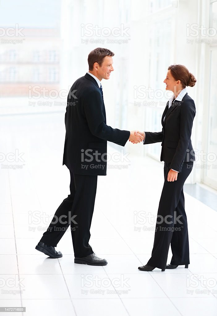 Business colleagues shaking hands in an office royalty-free stock photo