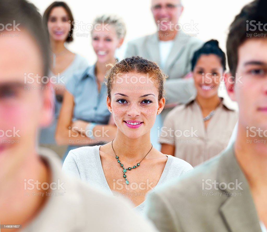 Business colleagues smiling royalty-free stock photo