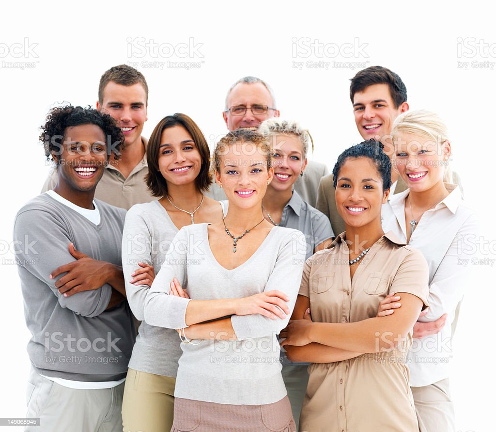 Business colleagues standing together stock photo